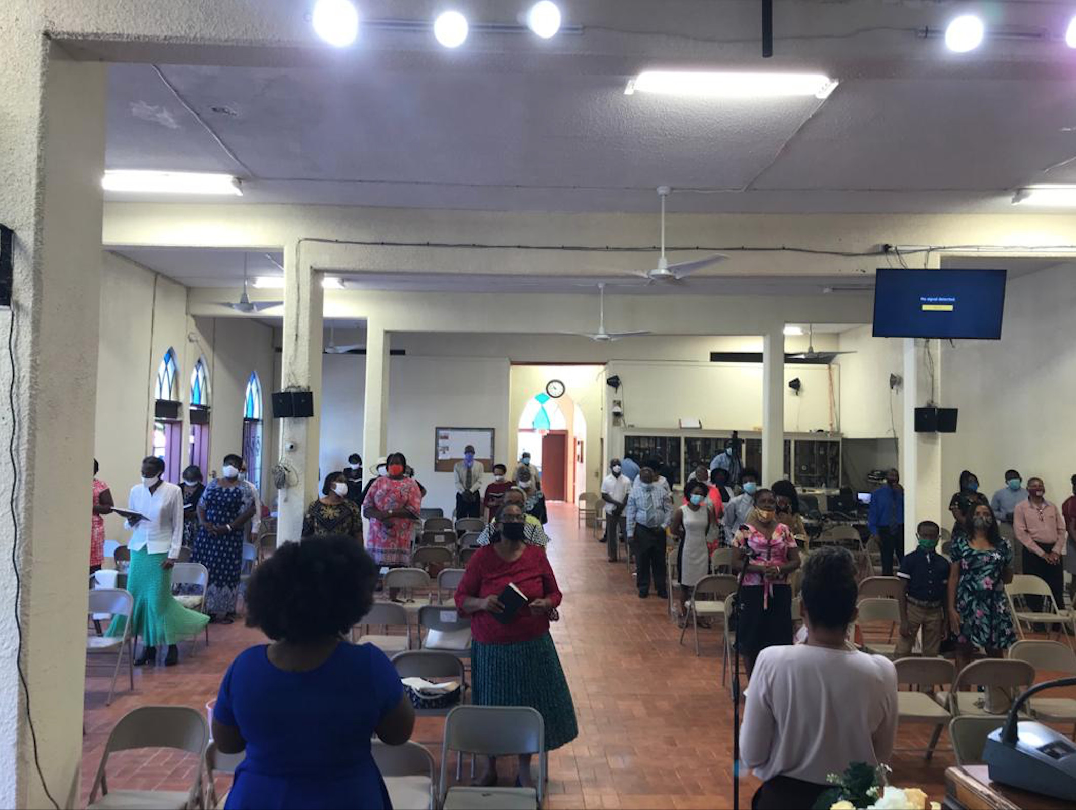 St. Thomas Members Meet Despite the Pandemic and a Damaged- Sanctuary